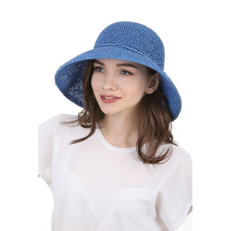 Шляпа плетеная синяяфото