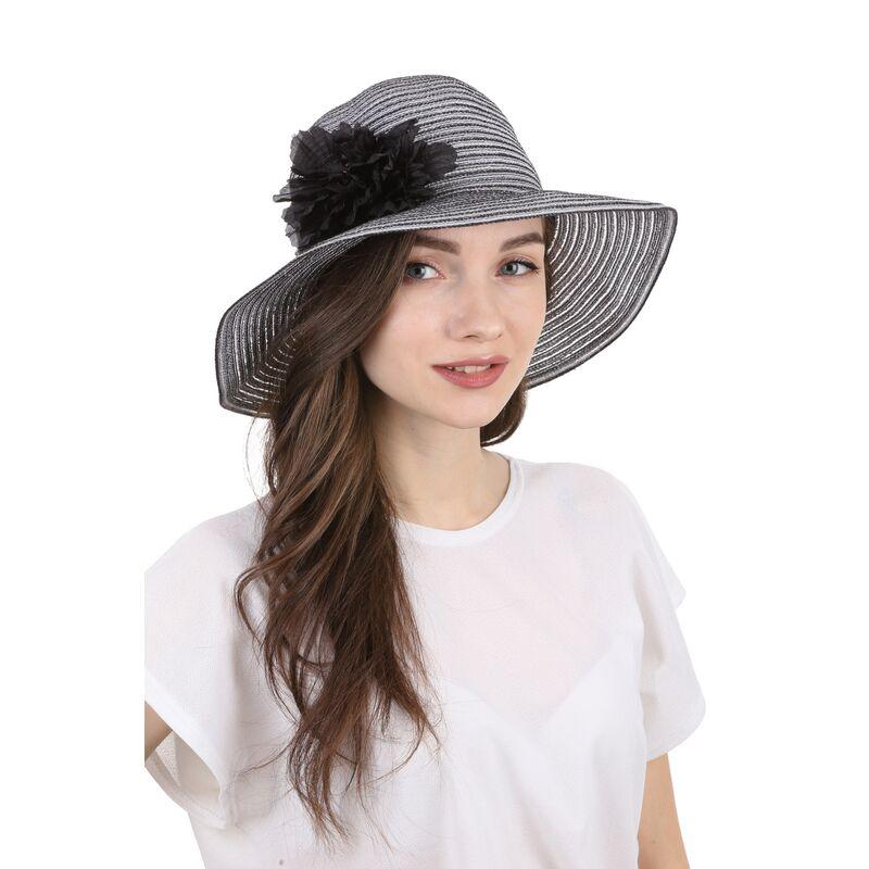 Шляпа летняя с украшением черно-белаяизображение