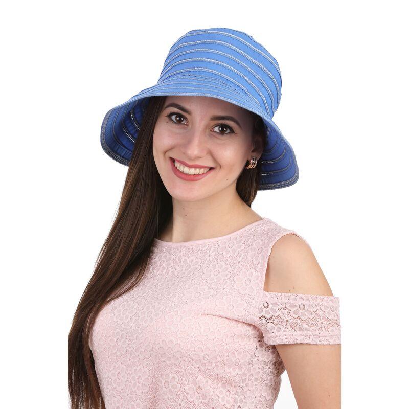 Панама летняя в полоску синяяфото