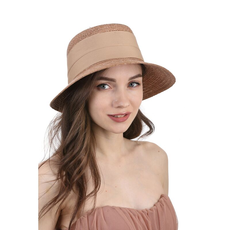 Шляпа женская соломенная коричневаяизображение