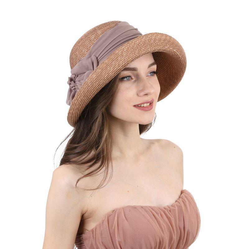 Шляпа женская соломенная декорированная лентой коричневаяизображение