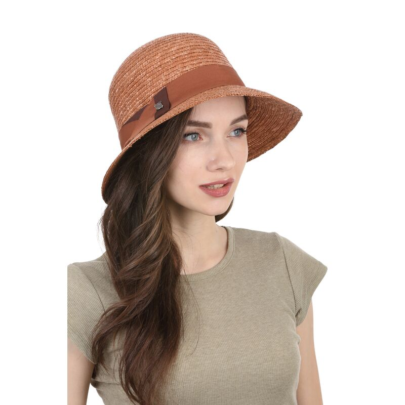 Шляпа соломенная женская классическая терракотизображение
