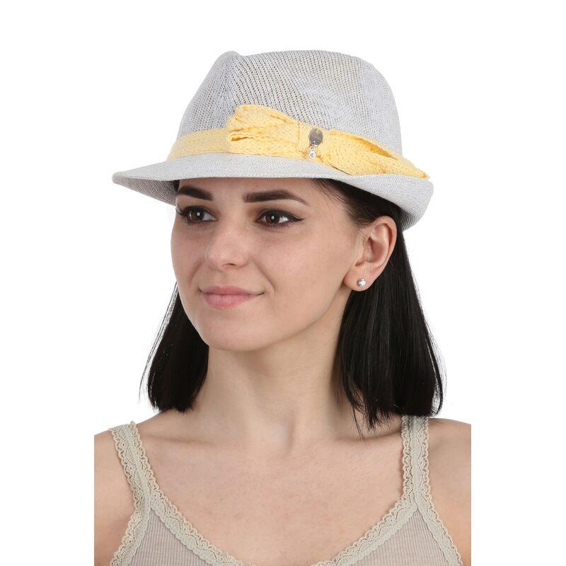 Шляпа летняя женская трилби белаяизображение