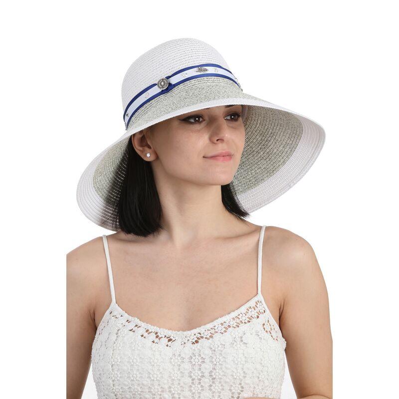 Шляпа с большими полями белая с серымфото