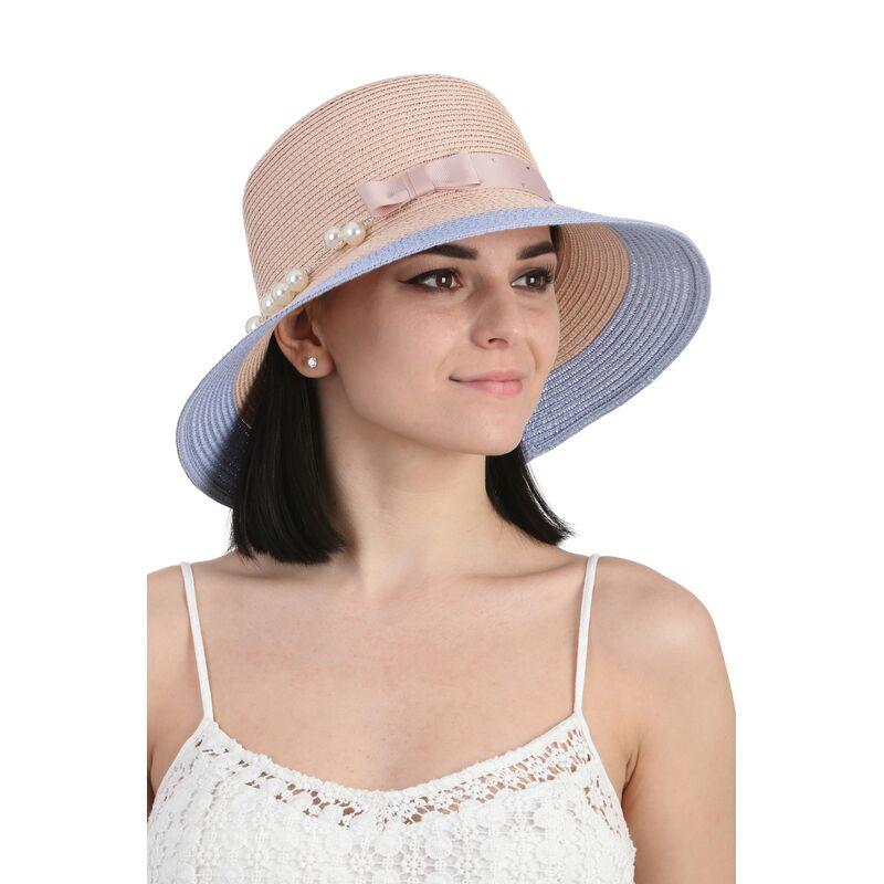 Шляпа летняя персиковая с голубымизображение