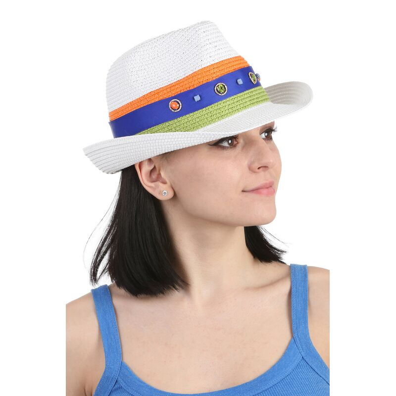 Шляпа трилби белаяфото