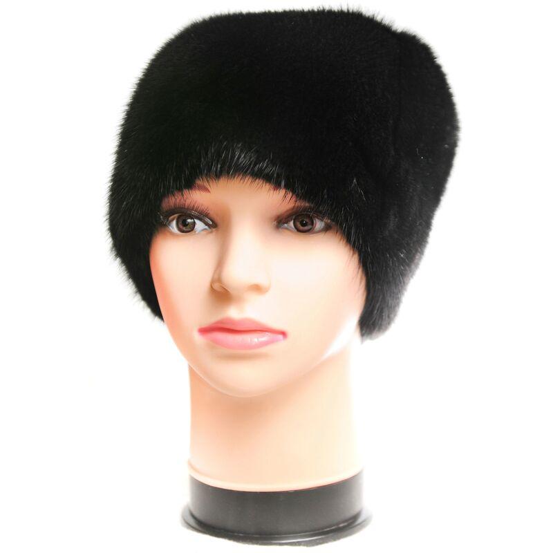 Черная женская шапка из норки изображение
