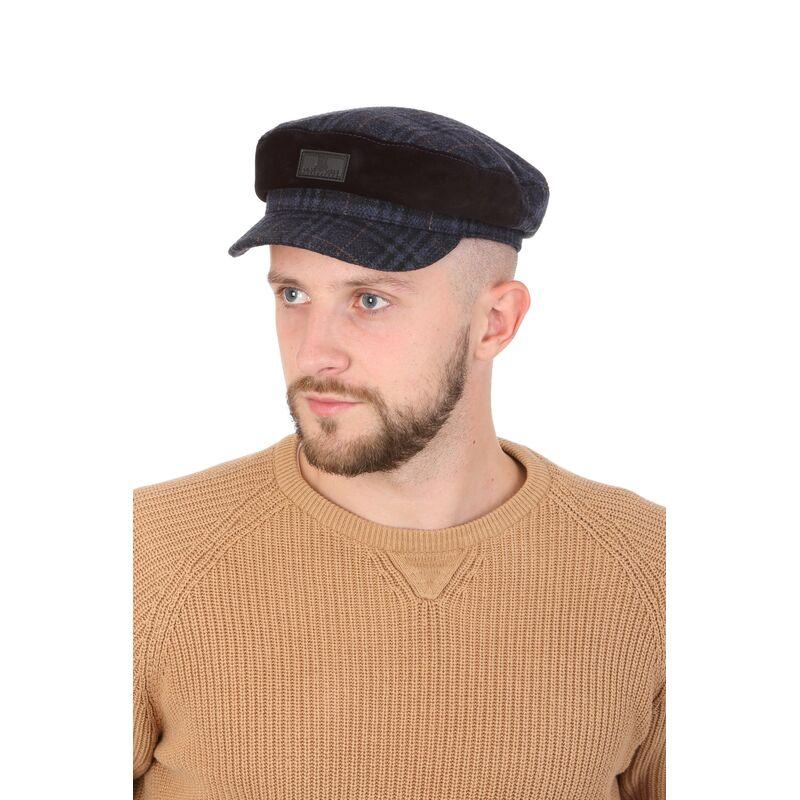 Капитанка синяя мужская из драпа с замшевой вставкойизображение