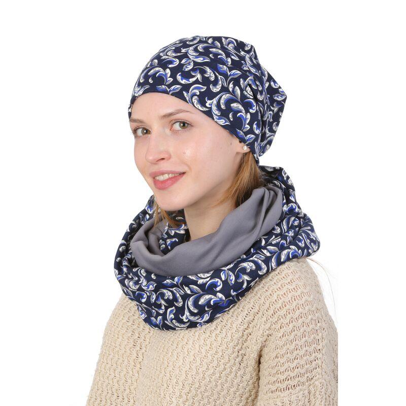 Комплект трикотажный двухсторонний синий с серымизображение