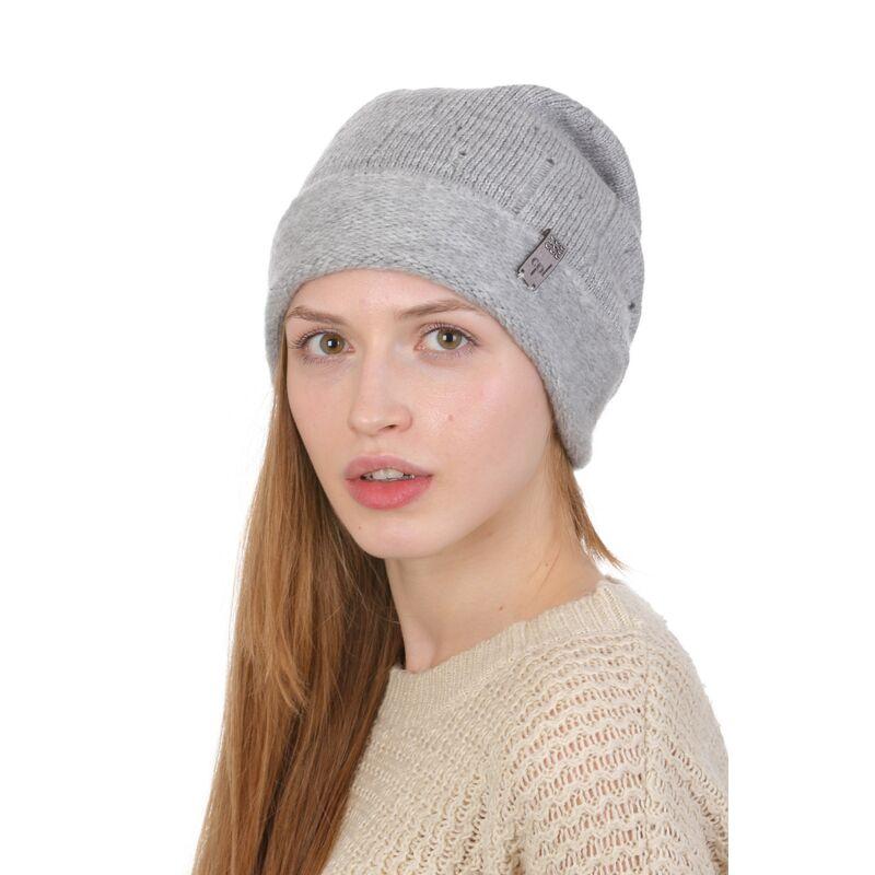 Вязаная шапка женская с отворотом сераяфото