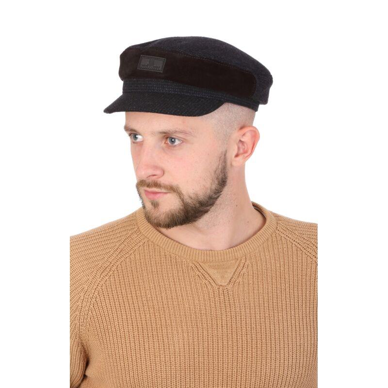 Капитанка мужская синяя из шерсти с замшеевой вставкойфото