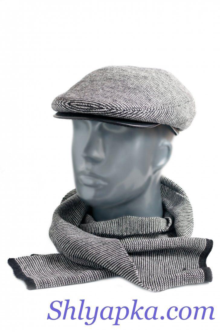 Кепка мужская из трикотажа с кожаным козырькомфото
