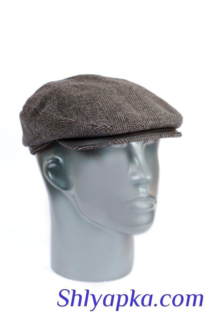 Кепка мужская из шерсти с отделкой из кожиизображение