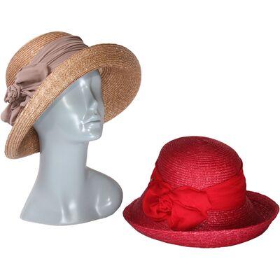 Шляпа женская соломенная декорированная лентой
