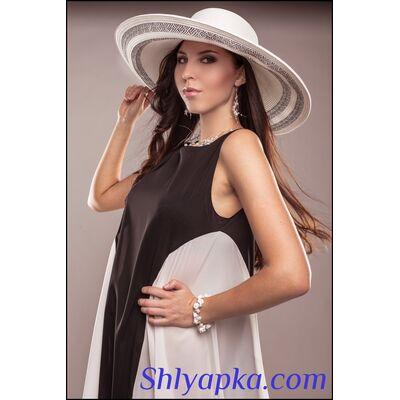 Шляпа с очень большими полями белая с черным
