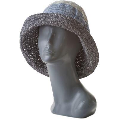 Шляпа летняя мягкая с украшением серая с голубым