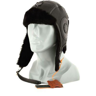 Шапка-шлем из натуральной овчины черный
