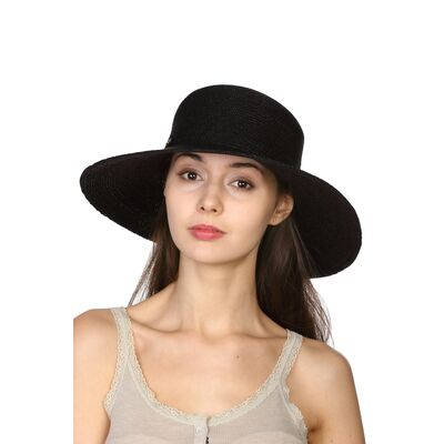 Шляпа классическая соломенная черная