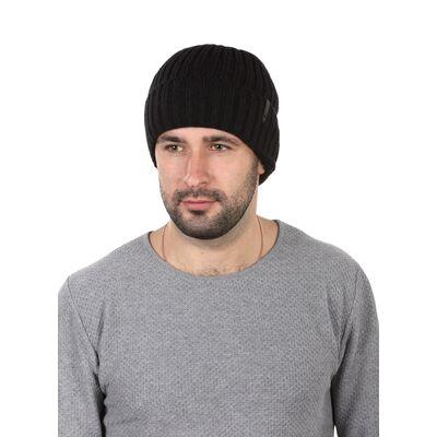 Шапка мужская с отворотом на флисе черная