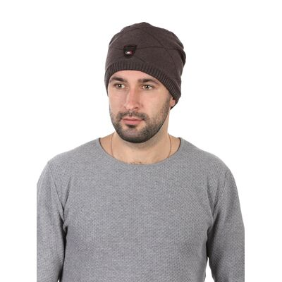 Шапка мужская с кожаным ремешком коричневая
