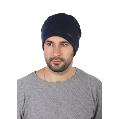 Шапка трикотажная мужская синяя с молнией