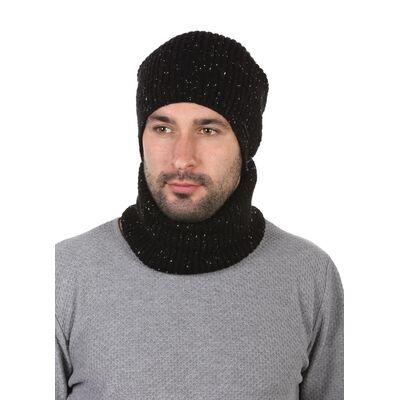 Комплект трикотажный шапка + баф черный