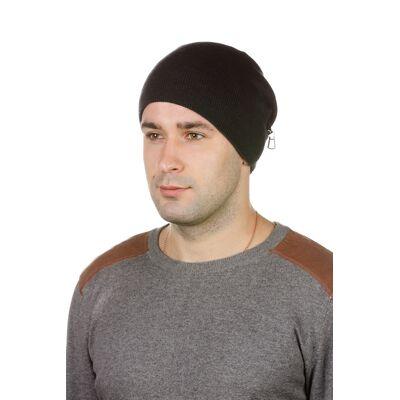 шапка мужская трикотажная серая с кожей
