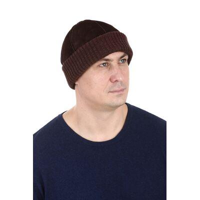 Шапка мужская замшевая коричневая