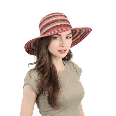 Шляпа соломенная в полоску с прямыми полями