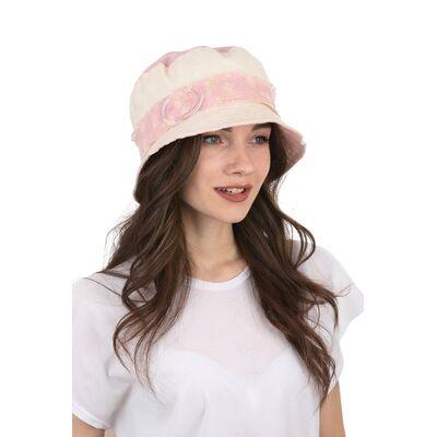 Шляпа тканевая белая с розовым