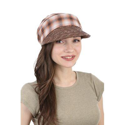 Козырек соломенный с верхом из ткани коричневый