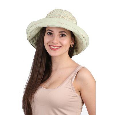 Шляпа тканевая с большими полями зеленая