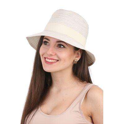 Шляпа федора молочная