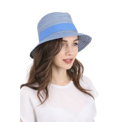 Шляпа федора голубая