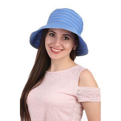 Панама летняя в полоску синяя