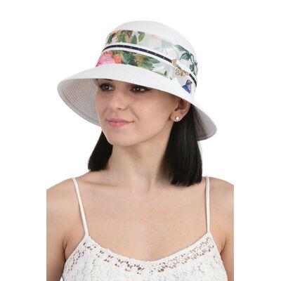 Шляпа белая с цветной лентой