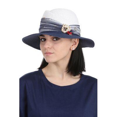 Шляпа федора бело-синяя
