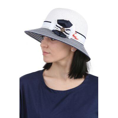 Шляпа с малыми полями бело-синяя