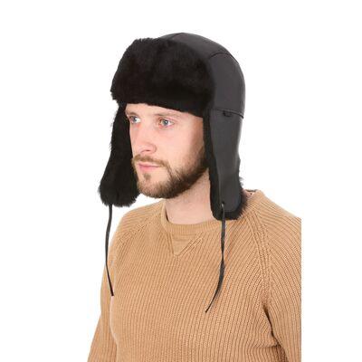 """Ушанка мужская из овчины """"Меринос"""" черная"""