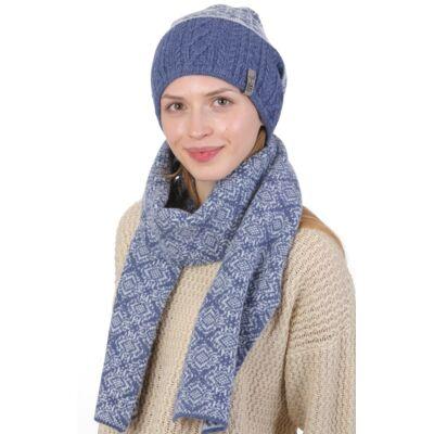 Комплект вязаный шапка и шарф синий с голубым