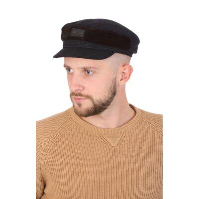 Капитанка мужская синяя из шерсти с замшеевой вставкой