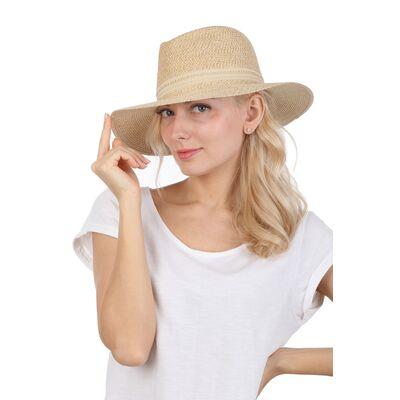 Шляпа летняя федора бежевая