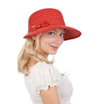 Шляпа красная из соломы с бантиком