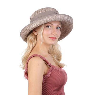 Шляпа серая соломенная с загнутыми полями