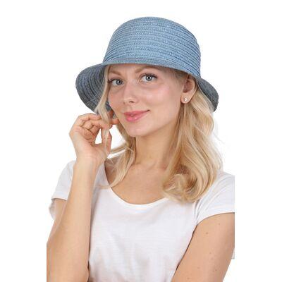 Шляпка из натуральной соломы голубая