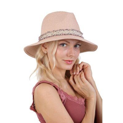 Шляпа федора светло-розовая