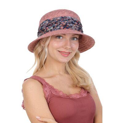 Шляпа соломенная с маленькими полями розовая