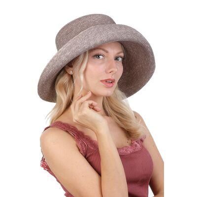 Шляпа соломенная с поднятым полем серая