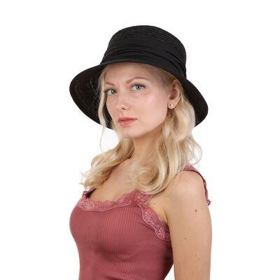 Шляпа черная соломенная