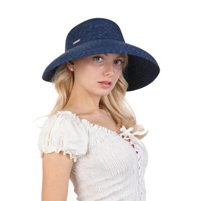Шляпа соломенная синяя с опущенными полями